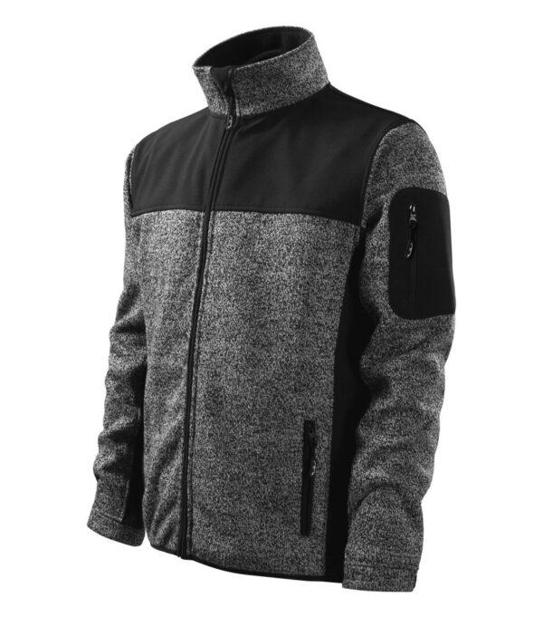 Adlerpóló kötött melanzs szürke Férfi Kabát/Mellény - MALFINIPREMIUM Casual softshell kabát férfi